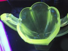 PAIR VINTAGE ART DECO STRONG UV GREEN GLOW CLEAR HEAVY GLASS 2 HANDLE VASES 8""